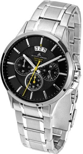 Jacques Lemans - 1-1542D - Montre Homme - Quartz - Chronographe - Chronomètre - Bracelet Acier inoxydable Argent