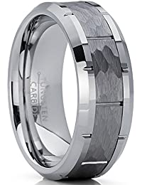 153977910d7b Metal Masters Co. Men s Hammered Grooved Tungsten Carbide Wedding Band Ring