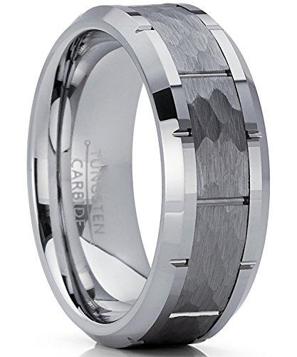 Herren Wolframcarbid Ring gehämmert Verlobungsringe Trauringe Hochzeitsband Bequemlichkeit Passen Größe 61