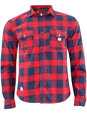 Jack South - Camicia da uomo in stile casual da boscaiolo, 100% in flanella di cotone, di qualità, adatta per...