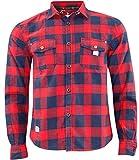 Jack South - Camicia da uomo in stile casual da boscaiolo, 100% in flanella di cotone, di qualità, adatta per il lavoro Red & Navy Check L
