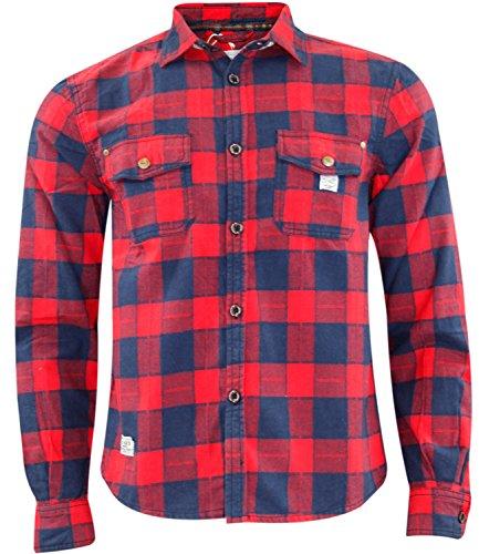 Jack south - camicia da uomo in stile casual da boscaiolo, 100% in flanella di cotone, di qualità, adatta per il lavoro red & navy check m