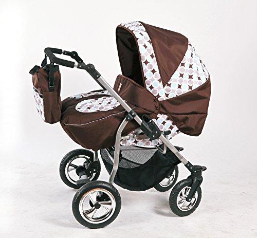 Zwillingskinderwagen mit viel Zubehör in 12 Farben und Räder zur Auswahl (Design 4)