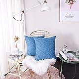 FabThing 2 Pacs Lin Carré Housse de Coussin Décoratif Canapé Chambre Couleur Unie Taie d'oreiller Housse De Coussin,45x45 cm Bleu