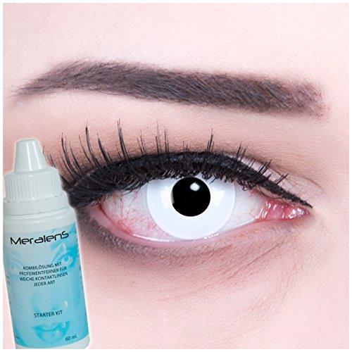 e Kontaktlinsen crazy Kontaktlinsen crazy contact lenses Zombie Weiß White Out 1 Paar. Mit Linsenbehälter und mit 60ml Pflegemittel (Billig-zombie-kontaktlinsen)