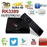 Yunn X99 3D Bluetooth 4.1 Smart TV Top-Box Android 7.1 Netzwerk-Player RK3399 4 GB RAM 64 GB ROM 4 K HD WiFi mit Typ-C