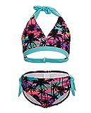i-DRAWL Big Girls Kids Two Piece Tankini Set COCO Printed Halter Swimsuit V-neck