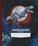 Composition Book Wide Rule: Dinosaur T Rex Tyrannosaurus Rex Cover School Black Blue Notebook Teen