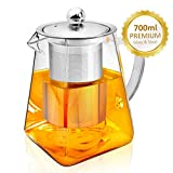 AckMond 700 ml Clear Glass Teapot with Stainless Steel Infuser & Lid, Borosilicate