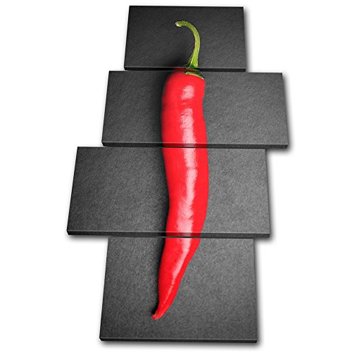 Bold Bloc Design - Food Kitchen Hot Chili Peppers - 240x135cm Leinwand Kunstdruck Box gerahmte Bild Wand hängen - handgefertigt In Großbritannien - gerahmt und bereit zum Aufhängen - Canvas Art Print (Hot Chili Peppers Dekoration)