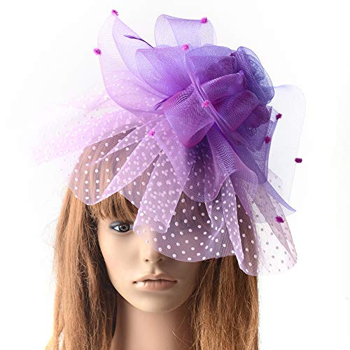 MNII Fascinator Pillbox Hat Feather Brooch Pin Hair Clip Blumenkopfstück Hochzeitskorsage für Damen und Herren Tag,Purple