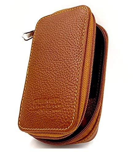 Braun Razor Blades (Parker Safety Razor Echtes Leder zweiseitige Sicherheits-Rasiermesser mit Reißverschluss Reisetasche mit Fach für Blades auch - Vom Sattel Braun)