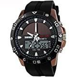 SKMEI Moderne Herren Solar-Sport Armbanduhr Analog-Digital Quarz LED Schwarz Soft PU Armband Militär Stoppuhr 30M Wasserdicht