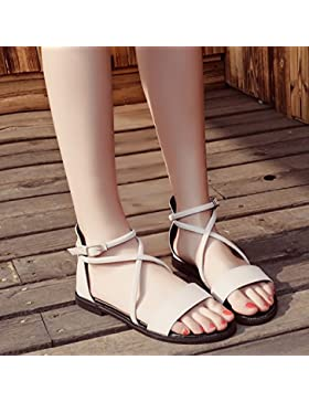 SDKIR-Estate pacchetto beige Roma sandali, femmina cinturino trasversale di fondo piatto sandali punta aperta...