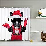 Weihnachten Hund in rot Vorhang für die Dusche, Polyester Wasserdicht Duschvorhang 12Haken enthalten, Badezimmer Zubehör, 72x 72