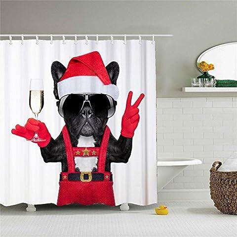 Weihnachten Hund in rot Vorhang für die Dusche, Polyester Wasserdicht Duschvorhang 12Haken enthalten, Badezimmer Zubehör, 72x