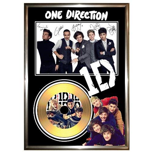 GOLDDISCDISPLAYS - Decorazione da parete One Direction con vinile dorato e foto autografata, in cornice, edizione limitata