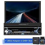 Tristan Auron BT1D7022A Autoradio + DAB+ Box und OBD 2 Adapter I Android 9.0 I 7'' Touchscreen Bildschirm, GPS Navigation, Bluetooth Freisprecheinrichtung, Quad Core Prozessor, USB, SD, DAB I 1 DIN