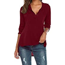 KaloryWee Women's Fashion Button Round Neck Long Sleeve T Shirts Casual Blouse Loose Tops New Arrival