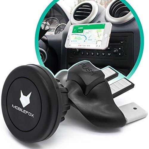 Mobilefox Magnet CD Schlitz KFZ Handy Halterung für Samsung Galaxy S10 S10+ S10e S9 S8 S7 S6 S5 S4 Neo Mini Edge Plus schwarz - Auto Halter Slot Plättchen