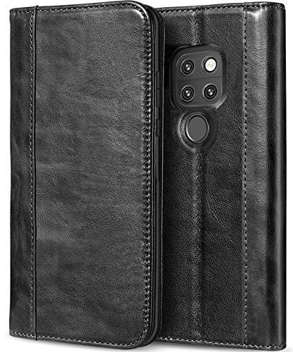 Huawei Mate 20 Echtes Leder Hülle, ProCase Vintage Geldbörse Falten Flip Case mit Ständer Karten Einstecker Halter Magnetverschluss Schutzhülle für Huawei Mate 20 (2018 Freigeben) -Schwarz -