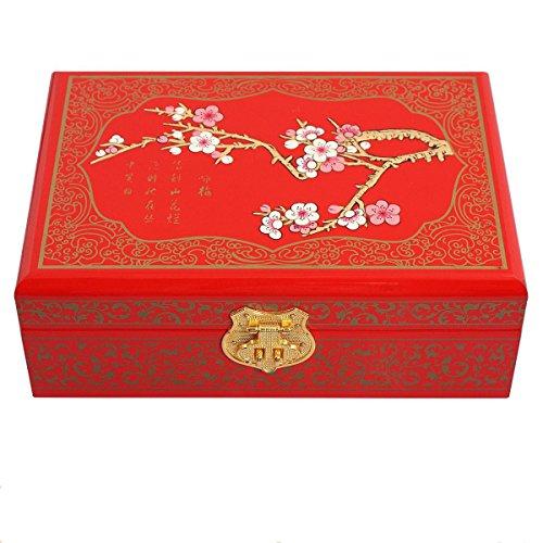 Lacquerware Monili serratura bagagli orecchini collane scatola rettangolare di Anelli