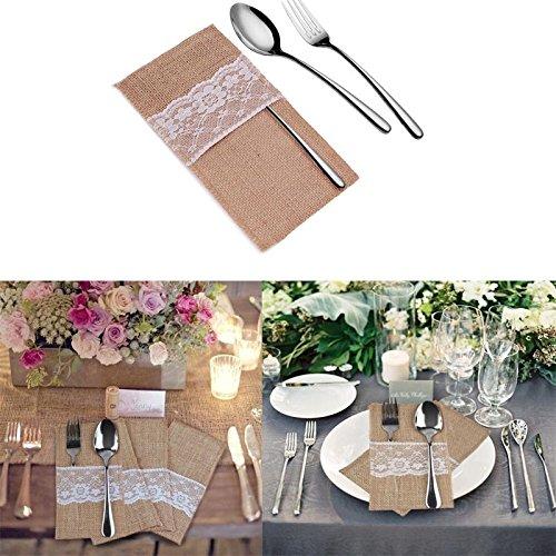 Preisvergleich Produktbild Yalulu 10 Stück Natur Jute Sackleinen Lace Rustikales Besteck Messer und Gabeln Besteck Set Bestecktasche Halter Party Hochzeit Dekor