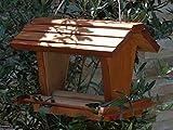 Vogelfutterhaus BEL-X-VOFU2G-dbraun002 Haus - PREMIUM Vogelhaus mit großem 3D-SILO + RIESEN-SICHTSCHEIBEN Vogelfutterhaus dunkelbraun behandelt / lasiert braun Nistkasten Insektenhaus, KOMPLETT MIT 2 GROSSEN SICHTSCHEIBEN FÜR FUTTERVORRAT, als Ergänzung zum Meisenkasten oder zum Insektenhotel, Vogelfutterhaus Vogelfutterhaus, für Vögel, Vogelfutterhaus zum Hängen und zum Aufstellen