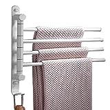 Handtuchhalter Handtuchstange 4 Armen Elegance 180° drehung Wandmontage Handtuchständer 31CM für Badezimmer,Weiß