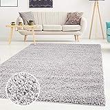 Shaggy-Teppich, Flauschiger Hochflor Wohn-Teppich, Einfarbig/Uni in Grau für Wohnzimmer, Schlafzimmmer, Kinderzimmer, Esszimmer, Größe: 100 x 200 cm