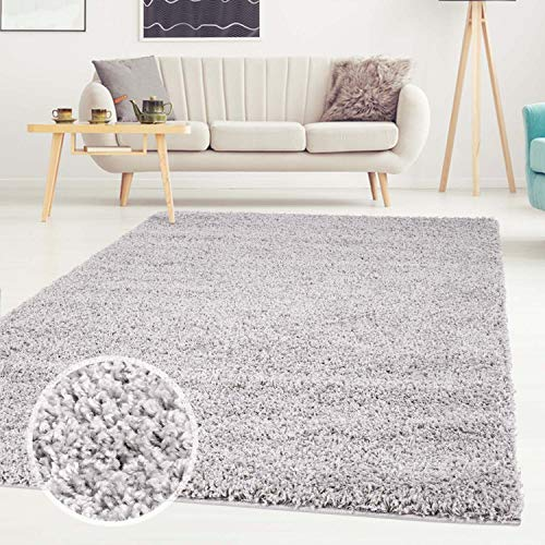 Shaggy-Teppich, Flauschiger Hochflor Wohn-Teppich, Einfarbig/Uni in Grau für Wohnzimmer, Schlafzimmmer, Kinderzimmer, Esszimmer, Größe: 200 x 290 cm