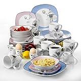 VEWEET Geschirrservice 'Debbie' aus Porzellan 40 Teilig | für 8 Personen | Frühstückservice mit je 8 Eierbecher, Kaffeebecher 350 ml, Müslischalen, Dessertteller und Flachteller