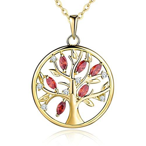 YL Lebensbaum Kette Damen-925 Sterling Silber mit Gelbes Gold Roter Granat Anhänger Kette für Frauen Mädchen Mutter, Kettenlänge 45-50cm