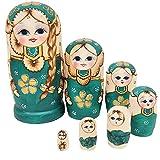 JQJPJOSIE 7pcs / Set Matrioska in Legno impilabile Giocattolo per Bambole Tradizionali Bambole Russe di incastramento Regalo in Legno Verde Fatto a Mano Giocattolo