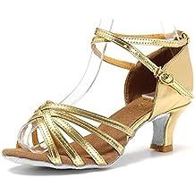 Mujer Zapatos Tacon - Generico 1 par Mujer Zapatos Tacon De Salsa Bachata Latinos Baile Sandalias Latin Shoe, Dorado 39