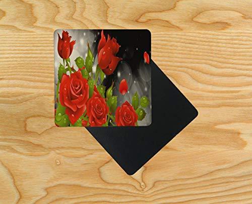 Untersetzer aus Holz, 95 x 95 mm, Rot mit Rosen, holz, mehrfarbig, 8er-Pack