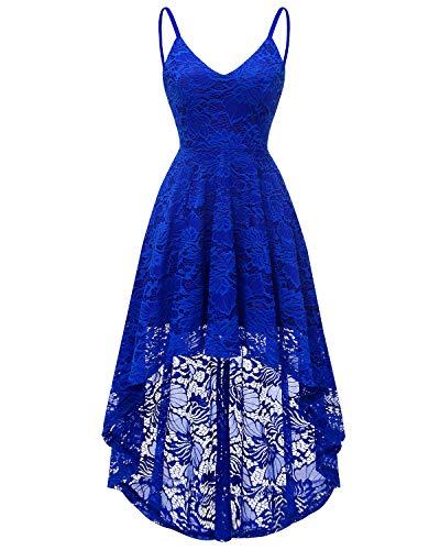Bridesmay Elegant Spitzenkleid Ärmellos Asymmetrisches Cocktailkleid Festlich Vintage Abendkleid...