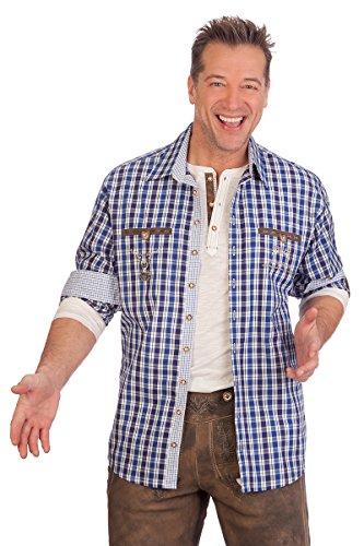 orbis Textil H1633 - Trachtenhemd mit Langem Arm - UWE - Blau, Größe 45/46 (XXL)