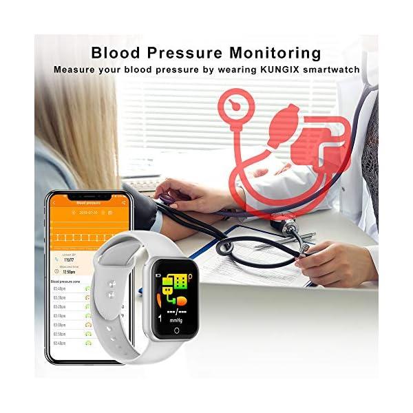 Smartwatch, KUNGIX Reloj Inteligente Impermeable IP68 Pulsera de Actividad Inteligente con Monitor de Sueño Pulsómetros… 5