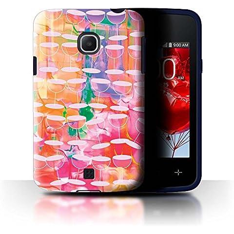 Custodia/Cover/Caso/Cassa Rigide/Prottetiva STUFF4 stampata con il disegno Vibrante Moderna per LG L30/D120 - Acquerello Vino