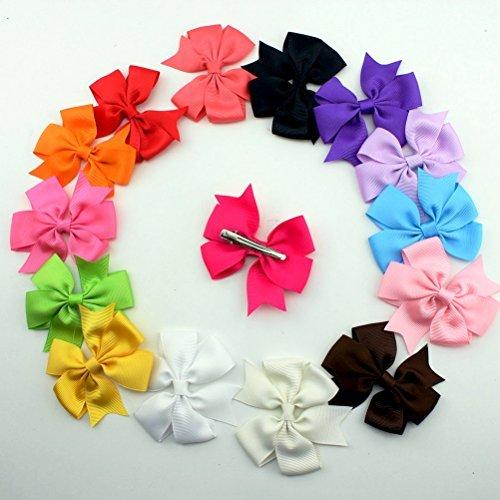 Oulii 15 Colors Hair Bows Baby Headbands Alligator Clip Grosgrain Ribbon Hair Clips (Random Colors) by OULII