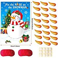 Howaf Pin the Nose on the Snowman Party Game Set, Christmas Party Game Family, Kids, Children, Office Xmas Party Fun Game Christmas supplies