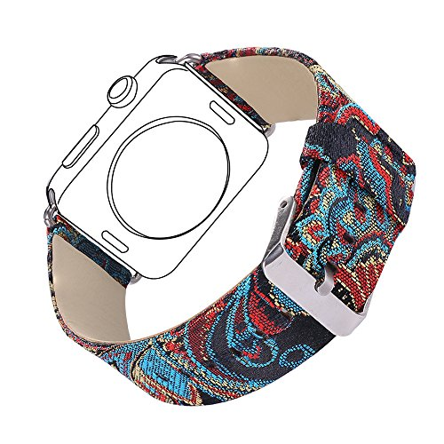 Bandmax Vintage Leather Band for Apple Watch, Ethnic Style Stainless Steel Metal Clasp Buckle Comfortable Genuine Leather Watch Strap for Apple Watch Series 2/1 42MM(Vintage Pattern 42MM)