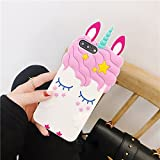 Case for LG K8, SevenPanda Cartoon Silicone Star Cute Adorable 3D Eyelash Eyelash Ears Design Funny Case Shockproof and Protective Soft Cover for LG K8 2017 - White Unicorn