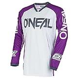 O'Neal Mayhem Lite Blocker Motocross Jersey Trikot MX Enduro Offroad Motorrad Quad Cross Erwachsene, 0030A, Farbe Weiß Lila, Größe S