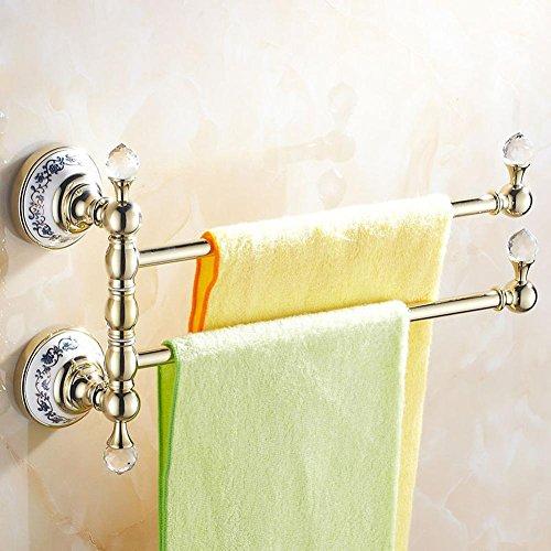 Ssby porta asciugamani in ottone, antiquariato oro cremagliera di tovagliolo, asciugamano rack rotazione attività, doppio portasciugamani
