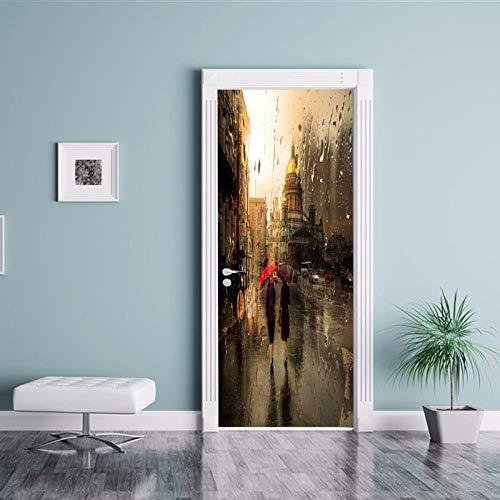 FCFLXJ3d tür aufkleber fenster regen szene poster tapete stereo home hintergrund schlafzimmer tür dekoration selbstklebende pvc selbstklebende stereo er 77x200 cm