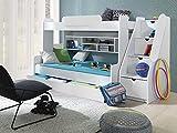 Furnistad Etagenbett Luna | Kinder Stockbett mit Treppe und Bettkasten (Weiß)