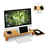 WoodLuv Bamboo PC Laptop Monitor Riser Stand Study Table TV Desktop Organizer Cellphone Ipad Holder with FREE Wooden Mouse Pad Included
