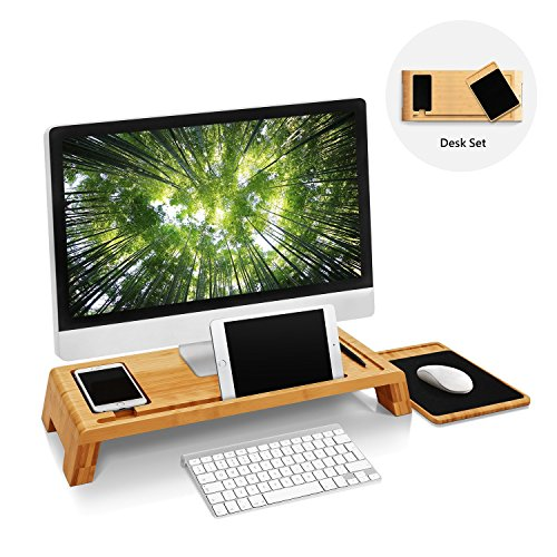 Woodluv Bambus PC Imac Ständer Studie Tisch Desktop Organizer mit Holz Maus Pad (Heavy-duty-tisch-pad)